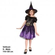 Dětský karnevalový kostým Čarodějnice 110 - 120cm ( 4 - 6 let )